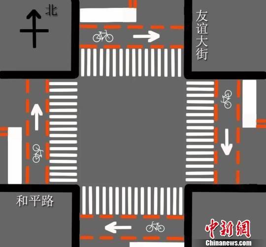 图为石家庄友谊大街与和平路交叉路口指示图。 警方供图