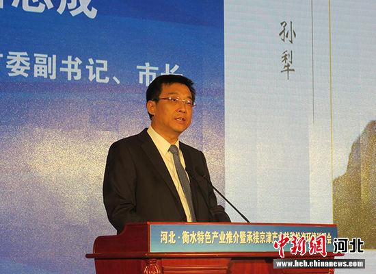 衡水市委副书记、市长吕志成就衡水投资环境做推介说明。 王鹏 摄