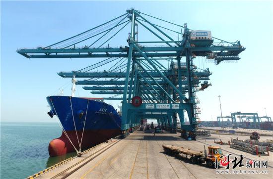 5月31日,黄骅港综合港区多用途码头上,岸桥正在装卸集装箱。 记者田明摄