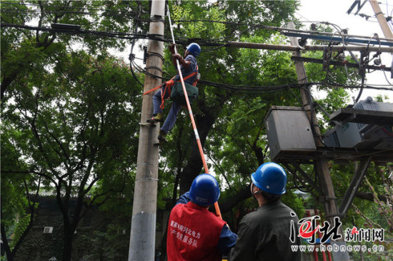 8月13日,国网石家庄供电公司工作人员在石家庄市四中路抢修因强降雨受损的电力设施。 记者史晟全摄