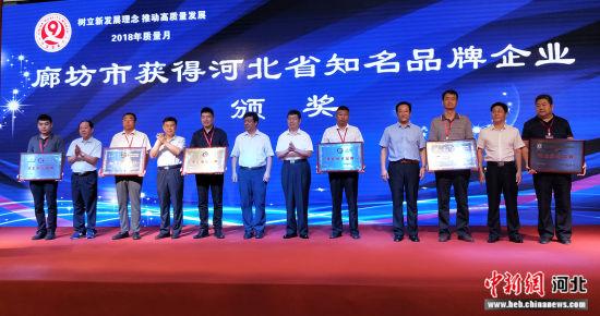 图为廊坊市获得河北省知名品牌企业颁奖现场。 王艳 摄