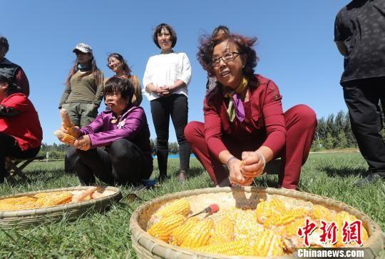 本届农民丰收节农民趣味运动会上,农民比赛剥玉米。 宋敏涛 摄