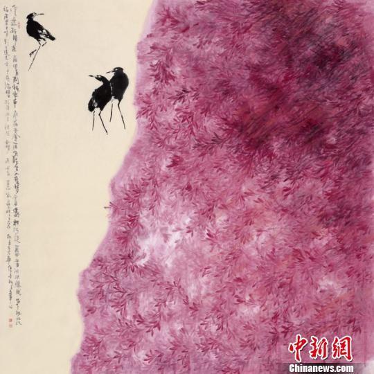 展出的中国画作品。 李晓伟 摄