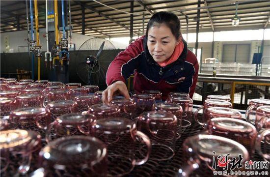 1月10日,河间市明尚德玻璃科技股份有限公司生产车间内,企业员工人在检查产品质量。