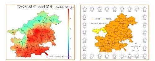 """""""2 26""""城市1月10日20时相对湿度和11日污染特征区域雷达图"""