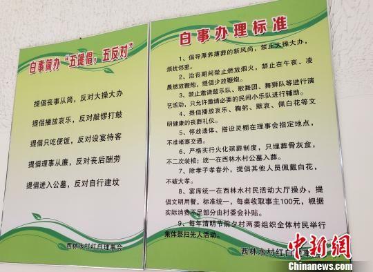 西林水村的白事办理标准。 徐巧明 摄