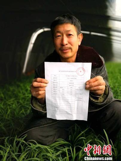 师群旺取得的韭菜无农药残留的检测报告单 俱凝搏 摄