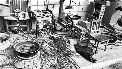 地下作坊内的轮胎翻新设备