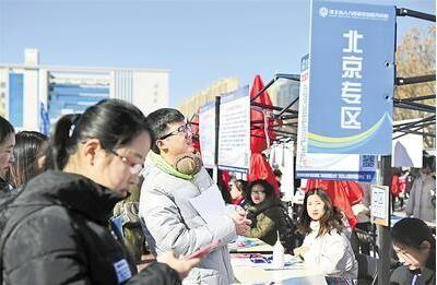 求职大学生在2019年河北省毕业生就业市场北京专区查看招聘信息。 记者 赵永辉摄