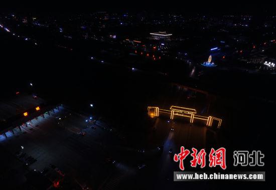 航拍容城夜景。