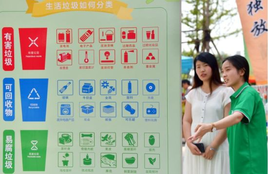 7月4日,在石家庄市桥西区红旗街道紫东苑小区,志愿者(右)给社区居民讲解垃圾分类知识。