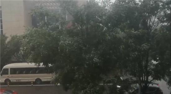 承德市行政中心,大雨倾盆而至。 视频拍摄:记者李建成