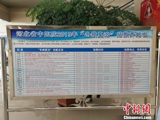 """图为河北省中医院""""冬病夏治""""展牌。 张帆 摄"""