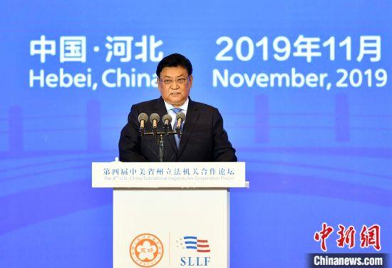 图为全国人大常委会副委员长白玛赤林出席开幕式并讲话。中新社记者 翟羽佳 摄