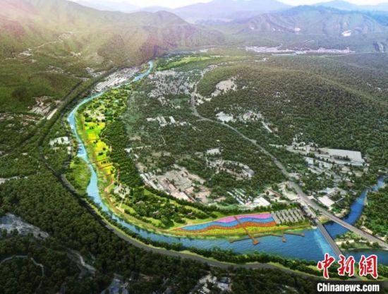 永定河畔的妙峰山镇爱河湾工程建设效果图。北京市门头沟区供图