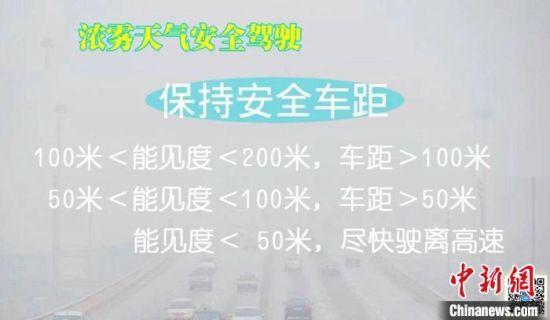 图为河北交警提示民众雾天行驶注意事项。警方供图