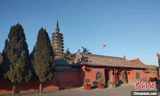 2月16日拍摄的正定县临济寺外景。中新社记者 王天译 摄