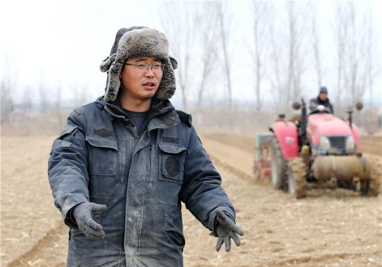 3月1日,陶向琳在田間向記者介紹他的種糧情況。