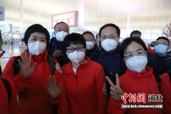 河北省人民医院首批援鄂医疗队员返石。 河北省人民医院供图