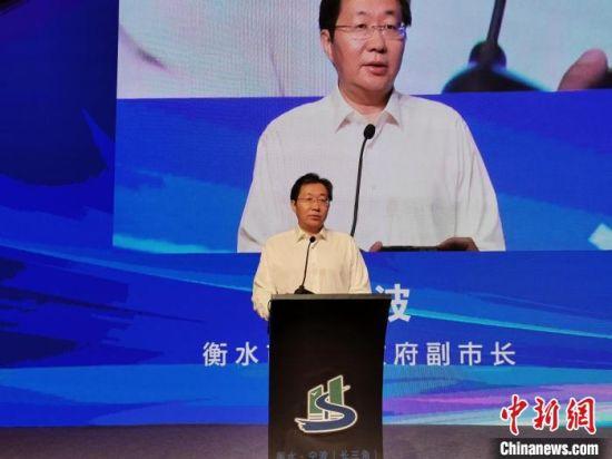 衡水市副市长吴波介绍衡水市投资环境。 王鹏 摄