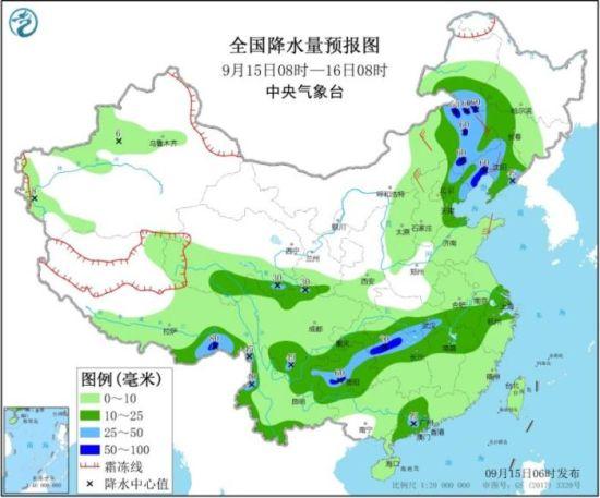 全国降水量预报图(9月15日08时-16日08时)