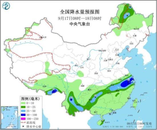 全国降水量预报图(9月17日08时-18日08时)