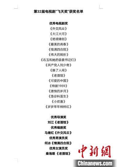 """图为第32届电视剧""""飞天奖""""获奖名单。 """"飞天奖""""""""星光奖""""颁奖典礼活动新闻中心供图"""