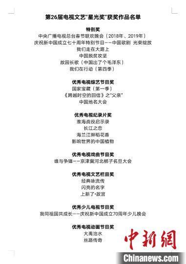 """图为第26届电视文艺""""星光奖""""获奖作品名单。 """"飞天奖""""""""星光奖""""颁奖典礼活动新闻中心供图"""