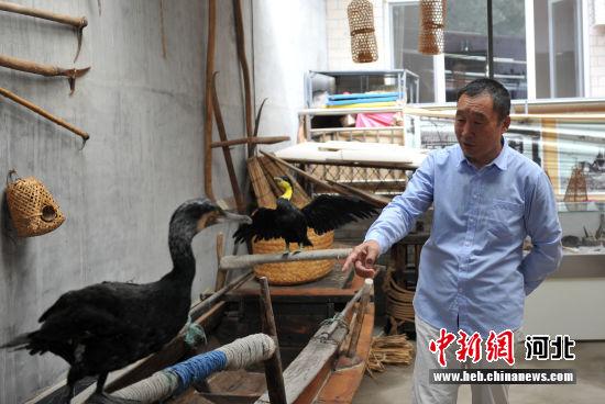 图为杨福春收藏的放鹰人用的渔船。 韩冰 摄