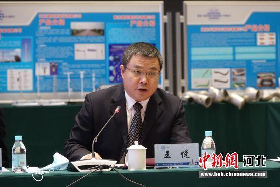 景县县委副书记、县长王悦推介景县产业情况。 王鹏 摄
