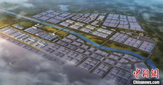 资料图:北京大兴国际机场临空经济区示意图。北京市大兴区供图