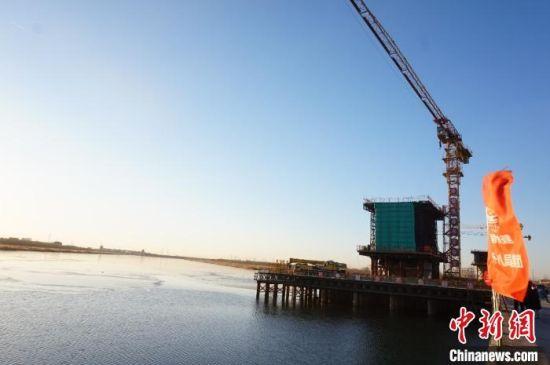 图为京滨铁路三标跨永定新河工点。 王君妍 摄