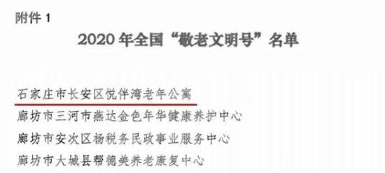 """东胜悦伴湾养老公寓荣获全国""""敬老文明号""""称号。"""