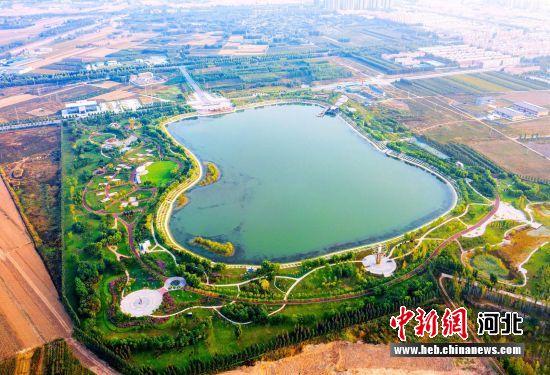 武强县音乐公园吉他湖全貌航拍。 供图