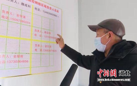 金家庄村党支部书记魏成利在介绍疫情防控策略。 贾凡 摄