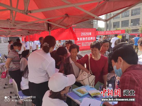 京唐两地组织开展的劳务协作招聘会现场。 唐县县委宣传部供图