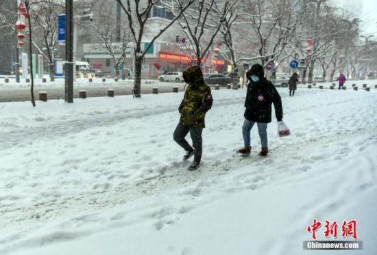 资料图:市民雪中出行。 中新社记者 刘新 摄