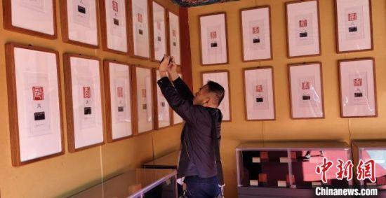 游客在篆体寿字展览前拍照 张桂芹 摄