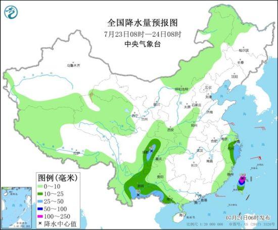 全国降水量预报图(7月23日08时-24日08时) 图片来源:中央气象台网站