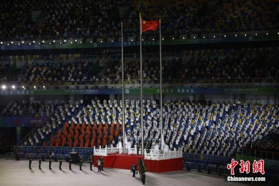 9月15日晚,第十四届全运会正式拉开帷幕,开幕式将在位于千年古都西安的奥体中心举行。中新社记者 安源 摄